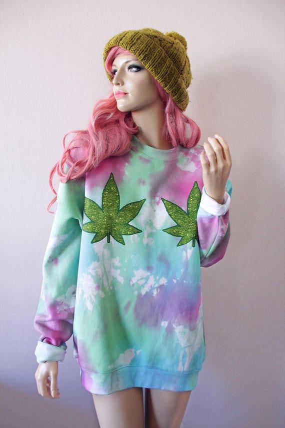 Glitter Effect Weed sativa marijuana Tie Dye Jumper grunge oversized trippy boho stoner hippy