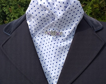 Elegance White Poly cotton pre tied ready tied Stock with Blue Polka Dots Dressage Stock by CJ's Equestrian