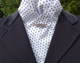 Elegance White Poly cotton pre tied ready tied Stock with Black Polka Dots Dressage Stock by CJ's Equestrian