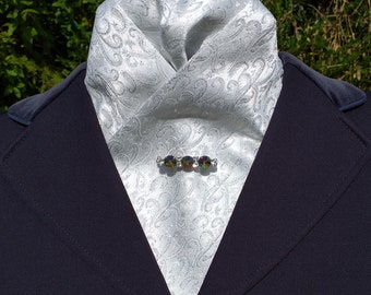 Elegance Pre Tied Ready Tied White and Silver Brocade Satin stock Dressage Stock by CJ's Equestrian