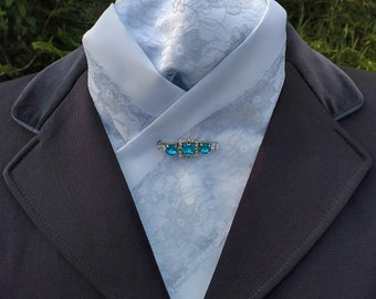 Elegance Deluxe Duo White Satin/Silver Floral Lace Pre-tied Ready Tied Stock Dressage Stock by CJ's Equestrian