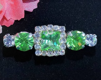 Beautiful Green and Clear Glass Crystal Rhinestone Stock Pin Dressage Stock Pin Brooch by CJ's Equestrian