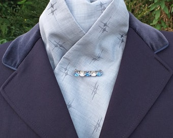 Elegance Grey Embroidered Cotton Mix Self Tie Stock Dressage Stock by CJ's Equestrian