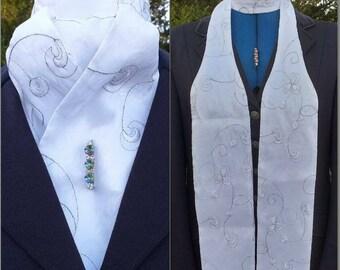 Elegance Self Tie White Taffeta Stock with Embroidery, Dressage Stock by CJ's Equestrian