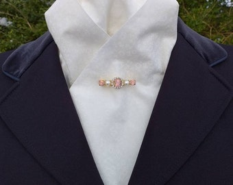 Elegance Pre Tied Ready Tied Cotton Stock with a print, Dressage Stock by CJ's Equestrian