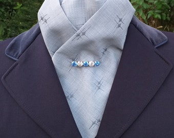 Elegance Grey Embroidered Cotton Mix pre tied ready tied Stock Dressage Stock by CJ's Equestrian