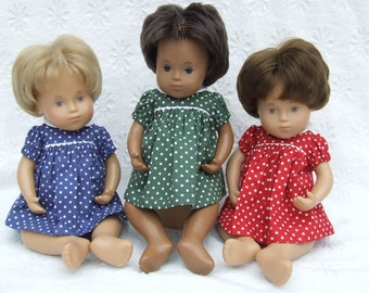 New colours available - Short Sleeved Classic Polka Dots Dress or Romper Outfit for Sasha doll Girl, Toddler, Baby or Wichtel 30/32cm Doll.