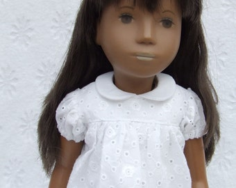 White Eyelet Short Sleeved Classic Dress,Slip and Pants Outfit for Sasha doll Girl 16/17""