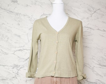Sage green silk and cotton cardigan size S | The earth collection silk blend cardigan | Green light cardigan