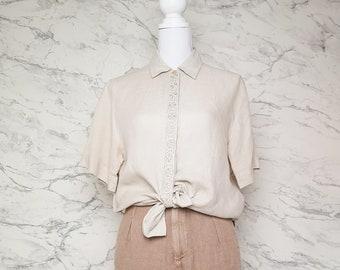 Cacharel beige linen shirt | Beige linen blouse | Cacharel beige blouse | Short sleeved linen shirt