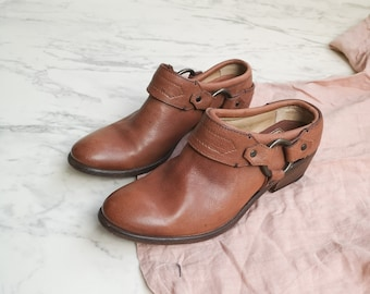 Frye brown leather harness boots | Brass harness buckle ankle mules | Leather slip-on slides boots clogs | Women's US 6.5 EU 37 | Frye clogs