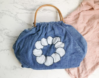 Handmade denim bag | Wooden bamboo handles | Vintage jeans purse