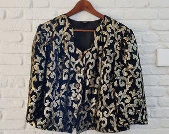 1980s black and gold blazer   80s party blazer