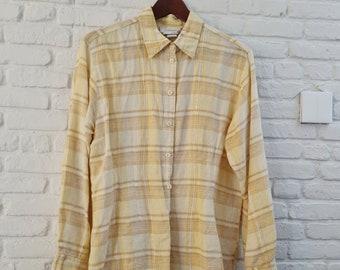 Yellow checkered linen shirt   Plaid yellow linen mix shirt
