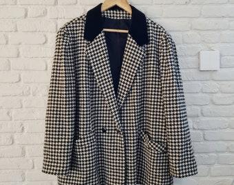 Vintage 80s C&A houndstooth woollen blazer   Houndstooth jacket