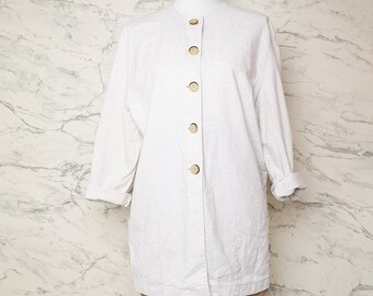 Oatmeal colored blazer jacket | Light beige linen blend blazer | Light beige cotton blend jacket