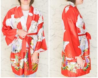Vintage Asian Floral Geisha Red Printed Satin Short Robe  7dcffb43e