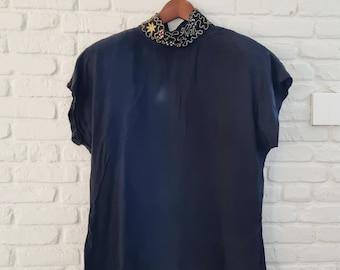 Black vintage 80s silk blouse   Embroidered black silk blouse