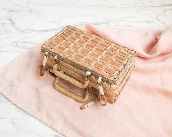Small wicker suitcase | Wicker storage case | Wicker suitcase