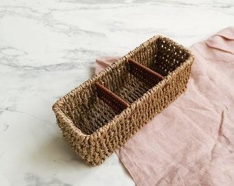 Small wicker organizer | Wicker storage organizer | Wicker home decor