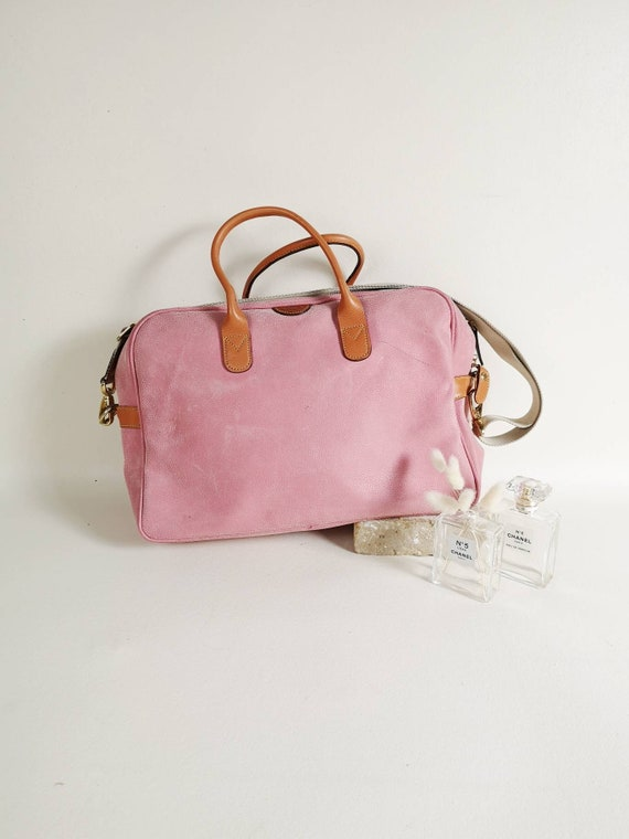 Pink suede leather Bric's bag | Suede messenger ba