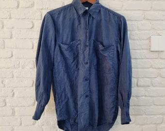 90s blue silk shirt