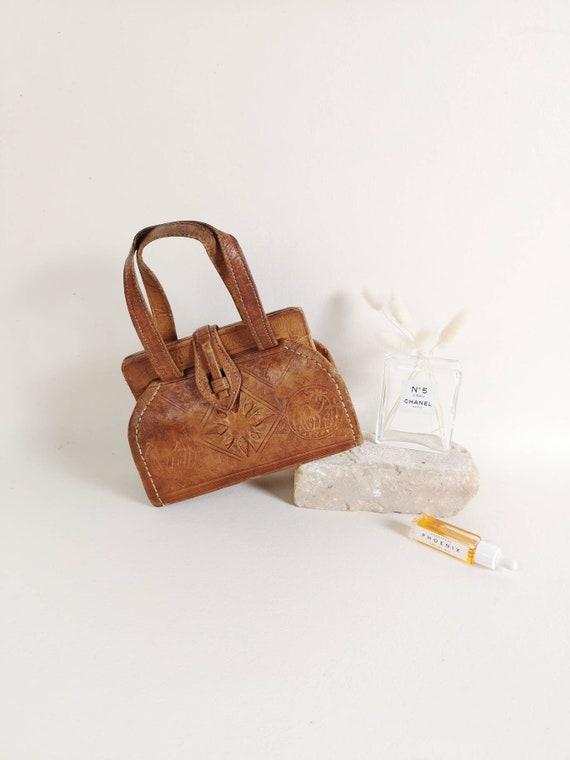 Vintage leather tooled bag | Tooled leather purse