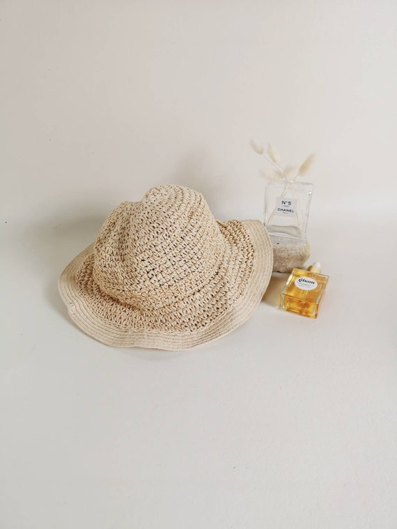 Woven paper straw hat | Floppy woven sun hat | Nat