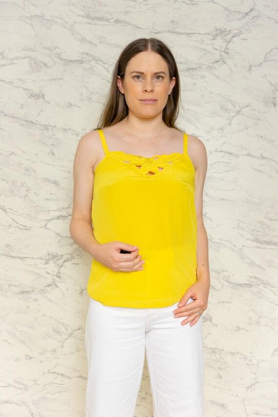 Yellow satin camisole | Yellow tank top | 1980s su