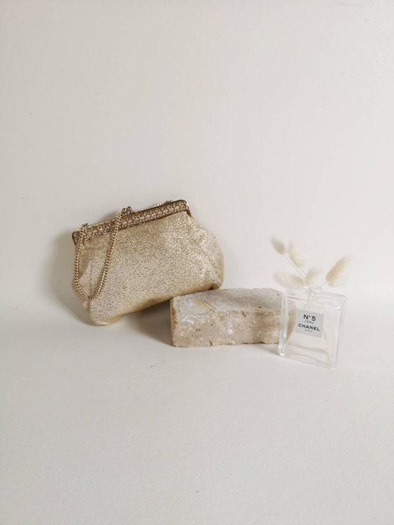 Gold evening bag | 60s evening bag | Gold fabric e