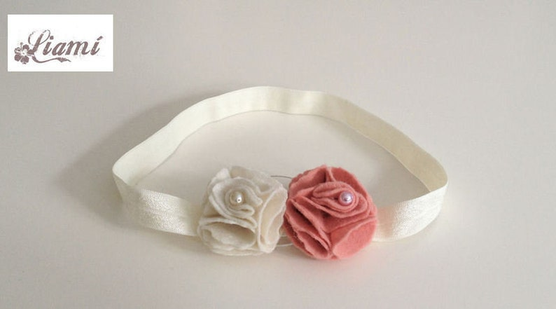 Hair band flower rose Cream fo... baby hair band