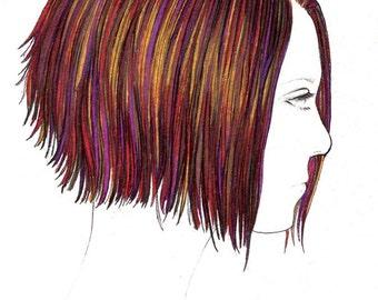 "Girls Hairdo Print:  Digital print of an original drawing available 5x7"" or 8x10"""