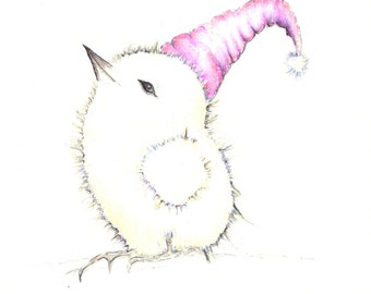 """Sleepy chick bedtime art print of an original drawing available 5x7"""" or 8x10"""""""
