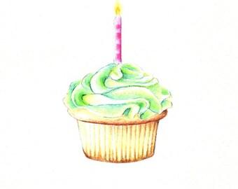 "Cupcake Print: digital print of an original drawing available 5x7"" or 8x10"""