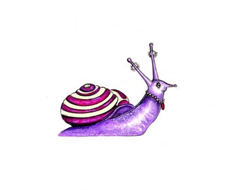 "Myrtle the Snail Print:   Digital print of an original drawing available 5x7"" or 8x10"""
