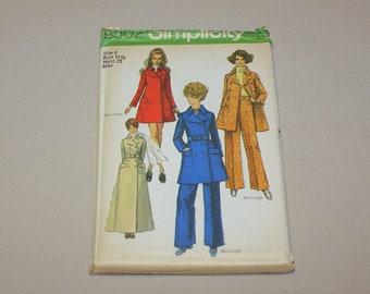 Vintage Simplicity 8502 Misses Mini or Maxi Coat Pants Pattern Size 8 Uncut Complete