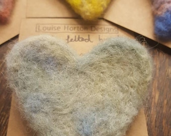 Needle felted heart brooch in greens and blues