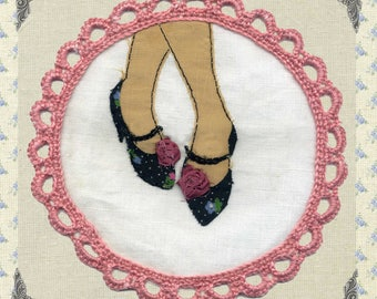Embroidered greeting card 14 cm square