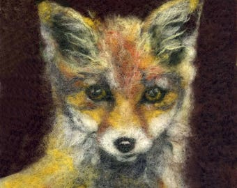 Needle felted fox cub print