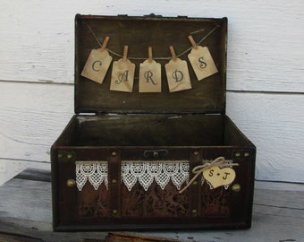 Vintage Card Holder - Personalized Rustic Trunk Card Holder - Wedding Card Box - Card Box - Wedding Trunk - Gift Table - Country Wedding