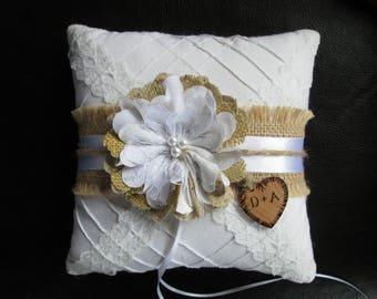 Ring Bearer Pillow, Wedding Pillow, Ring Pillow, Ring Bearer, Wedding Ring Pillow, Burlap and Lace Ring Pillow, Ring Holder, Rustic Wedding