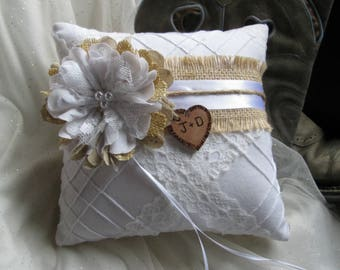 Ring Bearer Pillow, Wedding Pillow, Ring Pillow, Ring Bearer, Wedding Ring Pillow, White Ring Pillow, Ring Holder, Rustic Wedding
