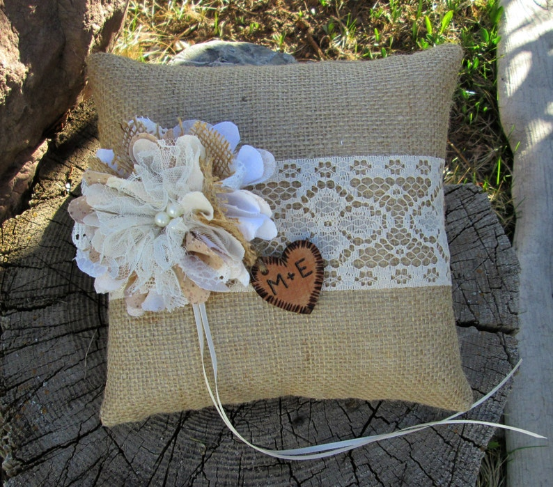 Personalized Ring Bearer Pillow Burlap and Lace Wedding Burlap Pillow -Ring Bearer -Barn Wedding -Summer Wedding Rustic Wedding Pillow
