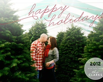 Happy Holidays Christmas Photo Card - 5x7 Printable