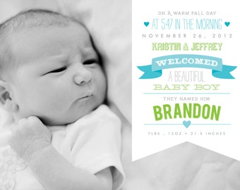 Baby Boy or Girl Birth Announcement - 5x7 Printable