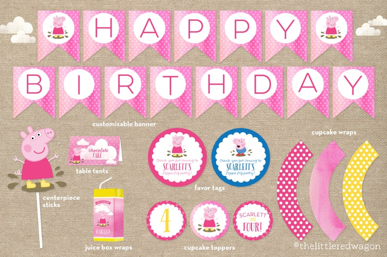 CUSTOM Peppa Pig Birthday Party Printables Banner Cupcake