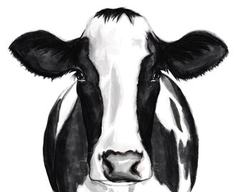 Farmhouse Print Cow Print Cow Drawing Cow Painting