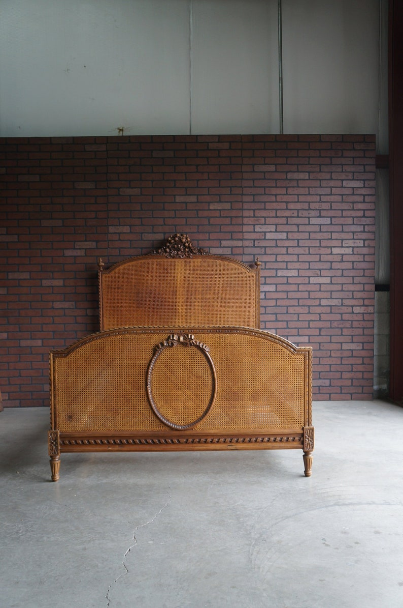 d4a94f5988fb Antique French Full Bed French Provincial Cane Bed Double