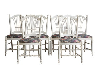 Dining Side Chairs ~ Wheatback Dining Side Chairs ~ Country French Dining Chairs by Ethan Allen ~ Set of 6