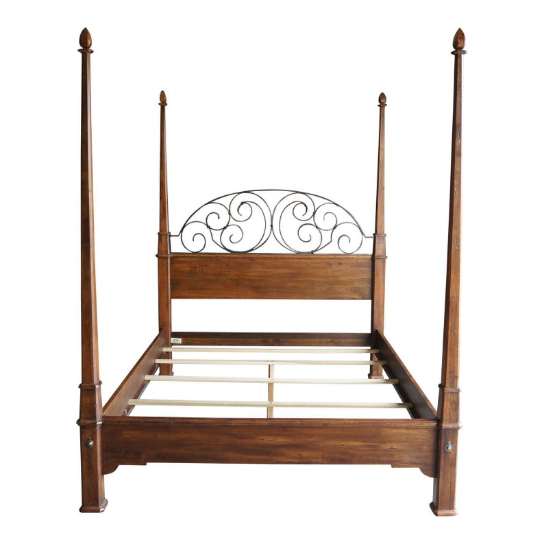 Queen Bed Frame 4 Poster Bed Iron Scroll Bed Old World Etsy
